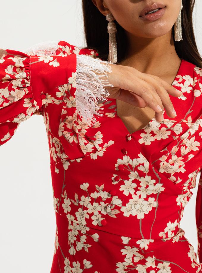 Платье миди с кружевом RVR_RESS2021-2023REFL, фото 1 - в интернет магазине KAPSULA