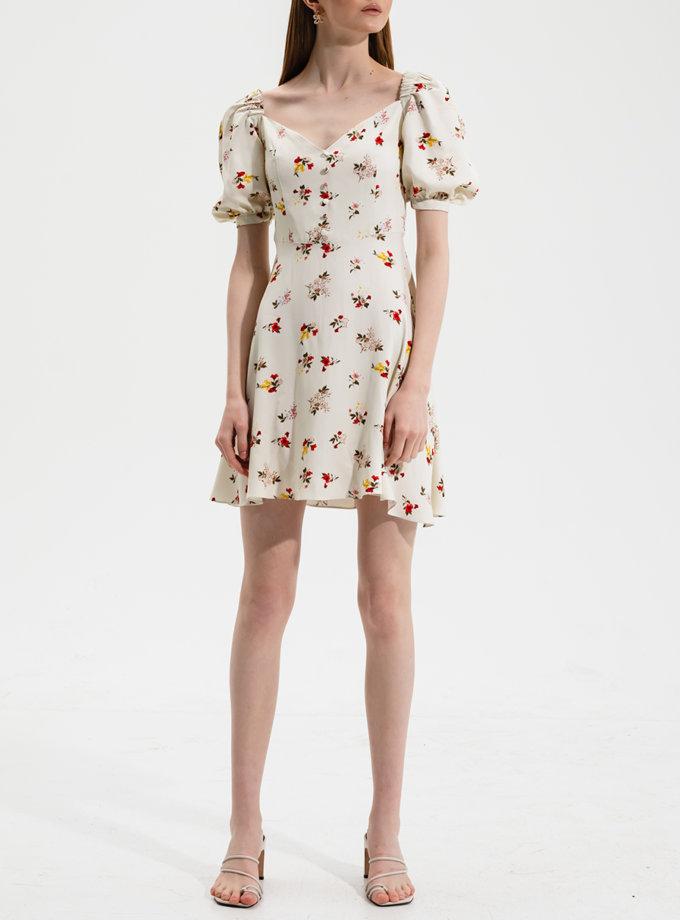 Платье мини в цветочный принт RVR_RESS21-2029WHFL, фото 1 - в интернет магазине KAPSULA