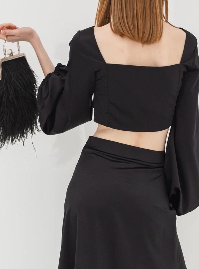 Топ с объемными рукавами RVR_RESS21-2012BK, фото 1 - в интернет магазине KAPSULA