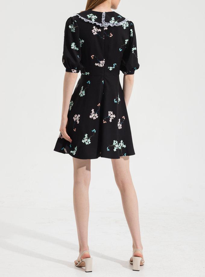 Платье мини  с воротничком RVR_RESS21-2030BKFL, фото 1 - в интернет магазине KAPSULA