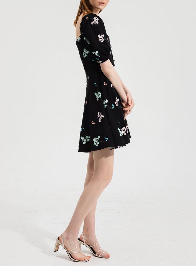 Платье мини в цветочный принт RVR_RESS21-2029ВKFL, фото 1 - в интернет магазине KAPSULA