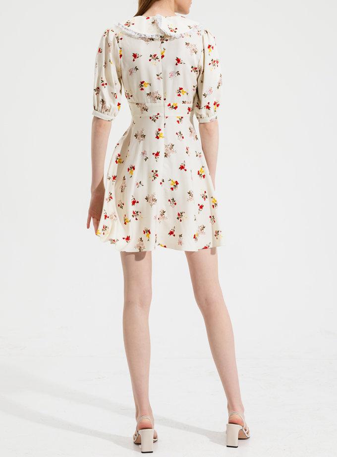 Платье мини  с воротничком RVR_RESS21-2030 WHFL, фото 1 - в интернет магазине KAPSULA
