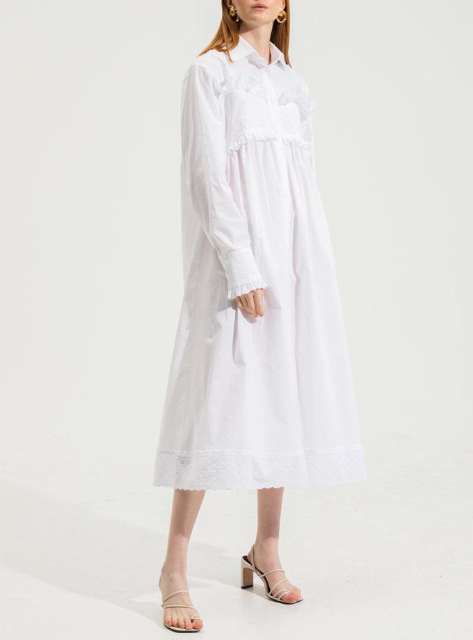 Хлопковое платье миди RVR_RESS21-2032WH, фото 1 - в интернет магазине KAPSULA
