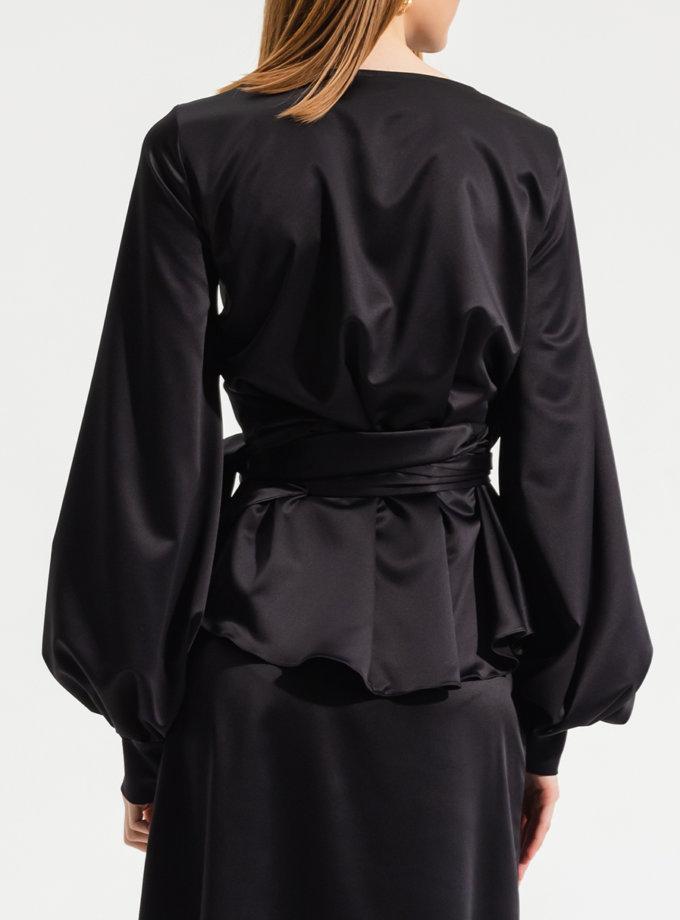 Блуза на запах RVR_RESS21-2027BK, фото 1 - в интернет магазине KAPSULA