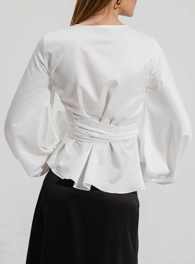 Блуза на запах RVR_RESS21-2027WH, фото 1 - в интернет магазине KAPSULA