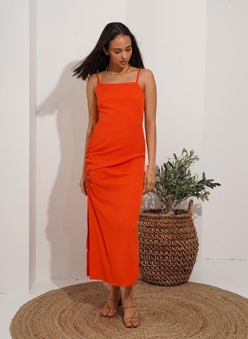 Платье миди с драпировкой Reina MC_MY7221-1, фото 1 - в интернет магазине KAPSULA