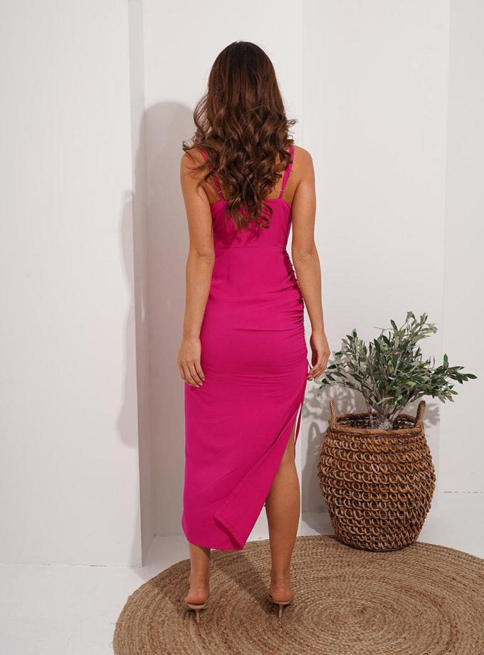 Платье миди с драпировкой Reina MC_MY7221, фото 1 - в интернет магазине KAPSULA