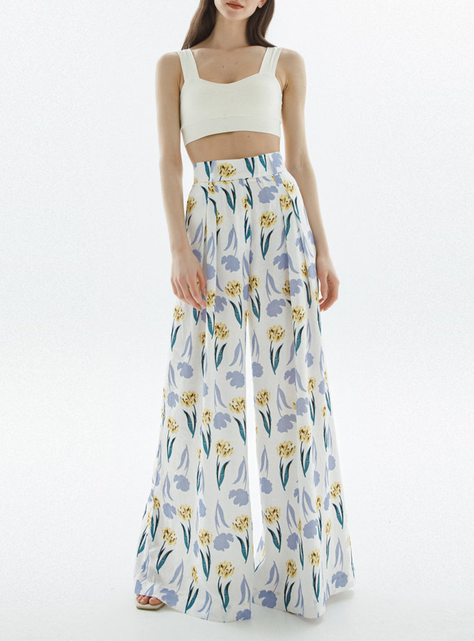 Льняные брюки-палаццо в цветочном принте IP_PL20069, фото 1 - в интернет магазине KAPSULA