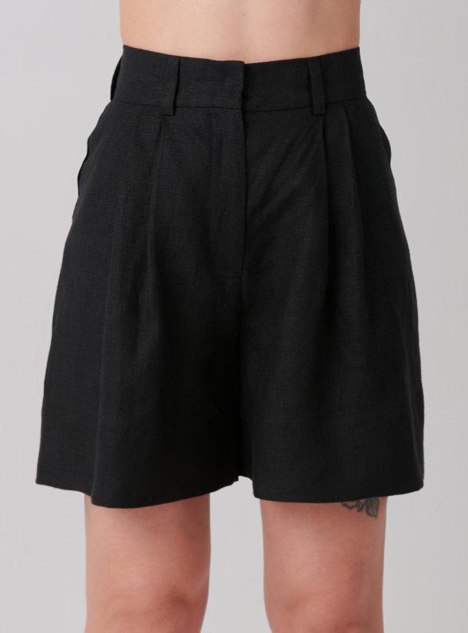 Шорты из льна KLNA_shorts -black, фото 1 - в интернет магазине KAPSULA