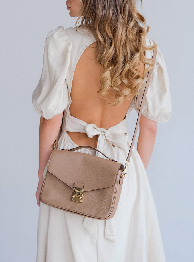 Льняное платье миди Amelie ED_o_PLAM-16, фото 1 - в интернет магазине KAPSULA