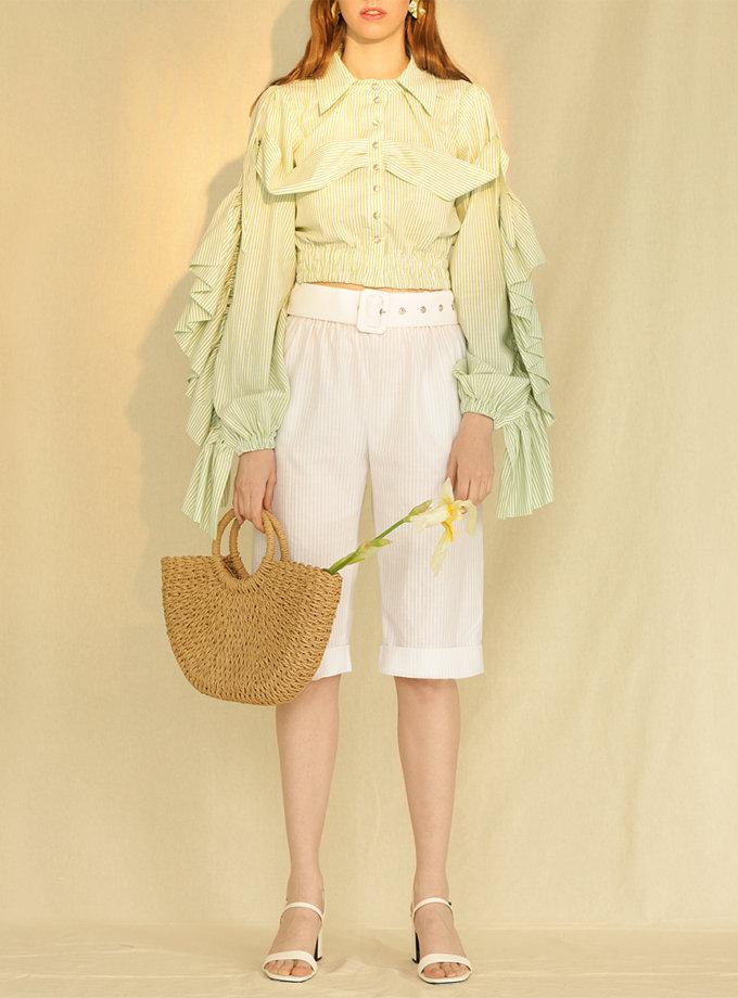 Бавовняна блуза з фактурними рукавами MF-CR19-7, фото 1 - в интернет магазине KAPSULA