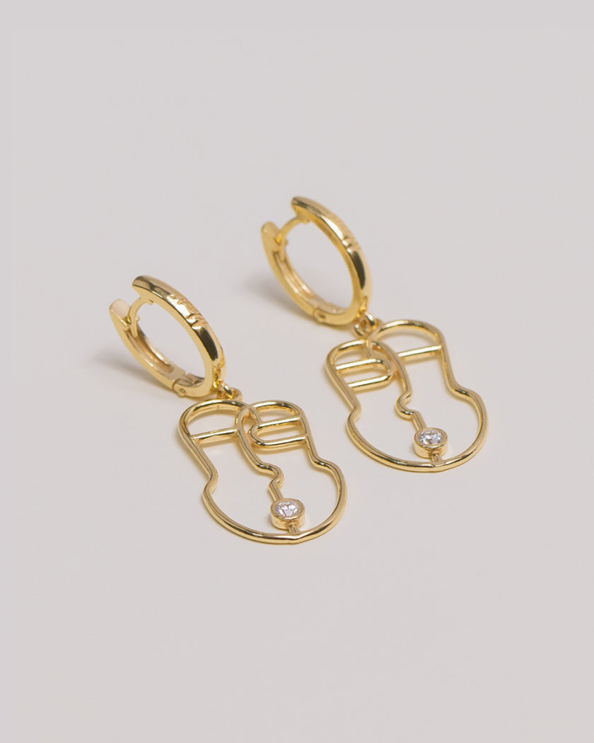 Серебряные сережки Harize yellow MJA_87004, фото 1 - в интернет магазине KAPSULA