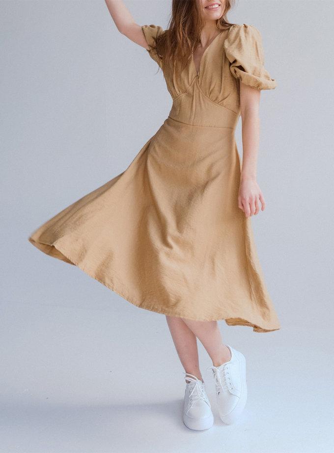 Льняное платье миди Ameli ED_o_PLAM-13, фото 1 - в интернет магазине KAPSULA