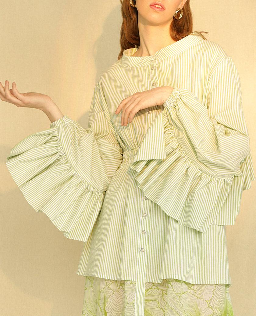 Хлопковое платье миди с фактурными рукавами MF-CR19-9, фото 1 - в интернет магазине KAPSULA