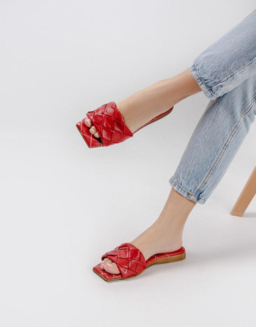 Кожаные шлепанцы Eva Red CRS_21-00426, фото 1 - в интернет магазине KAPSULA