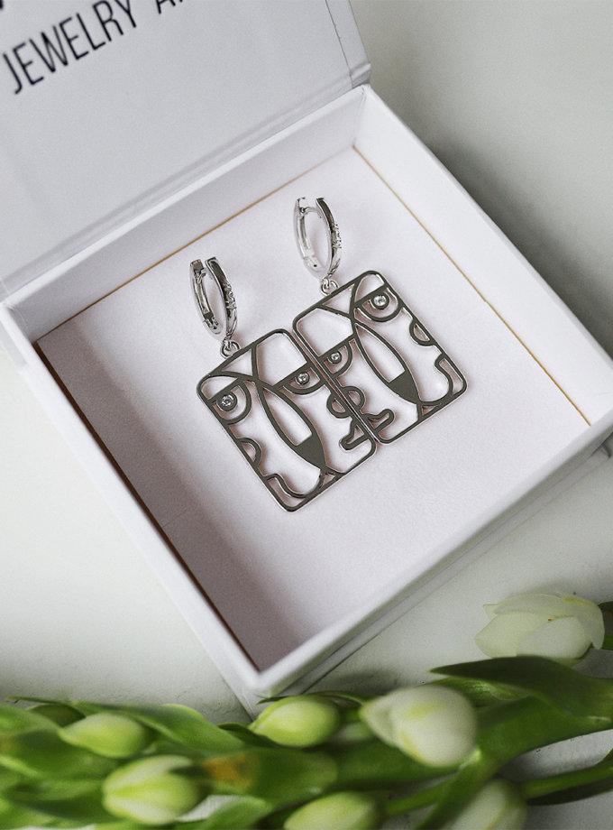 Срібні сережки Togez white MJA_87020, фото 1 - в интернет магазине KAPSULA