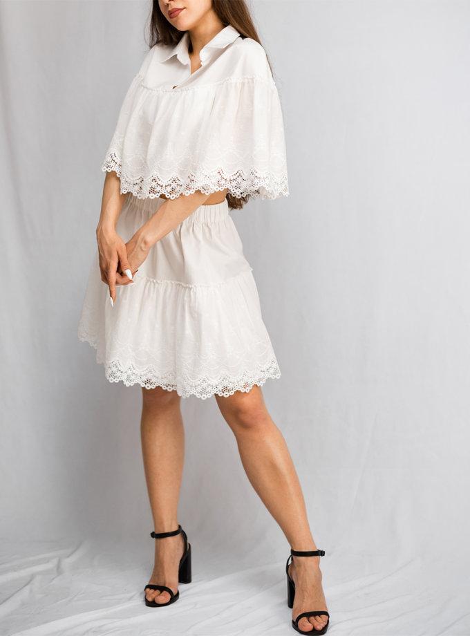 Хлопковый костюм с укороченным топом SHE_lacesuit_milk2, фото 1 - в интернет магазине KAPSULA