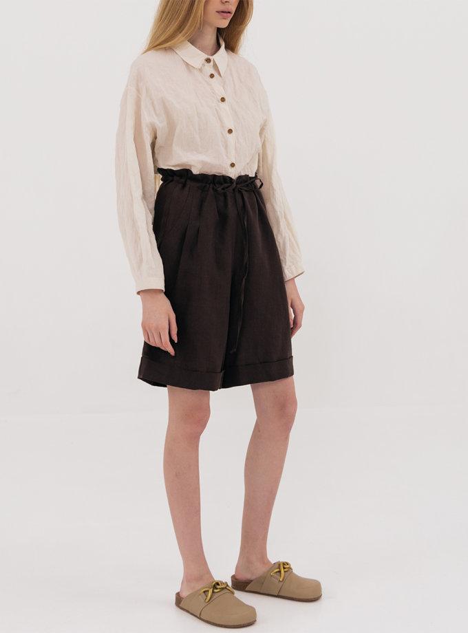 Льняные шорты на кулиске SHKO_19032010, фото 1 - в интернет магазине KAPSULA