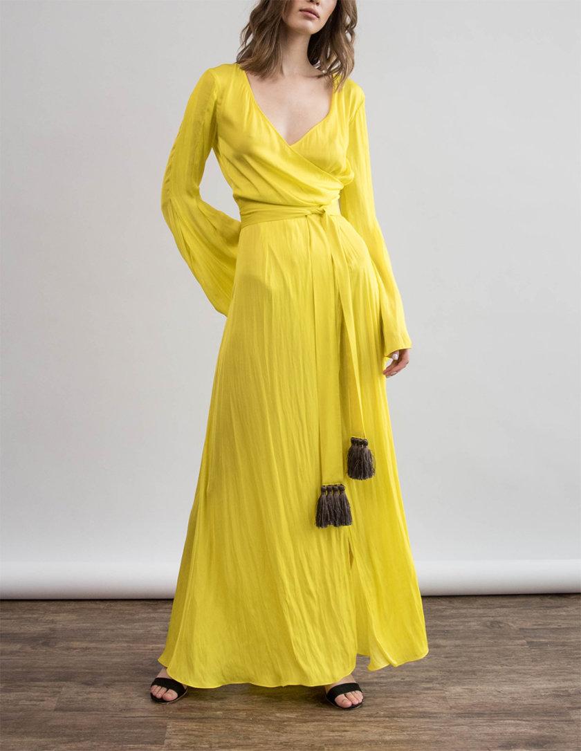 Шелковое платье макси с поясом ZHRK_zkss210002, фото 1 - в интернет магазине KAPSULA