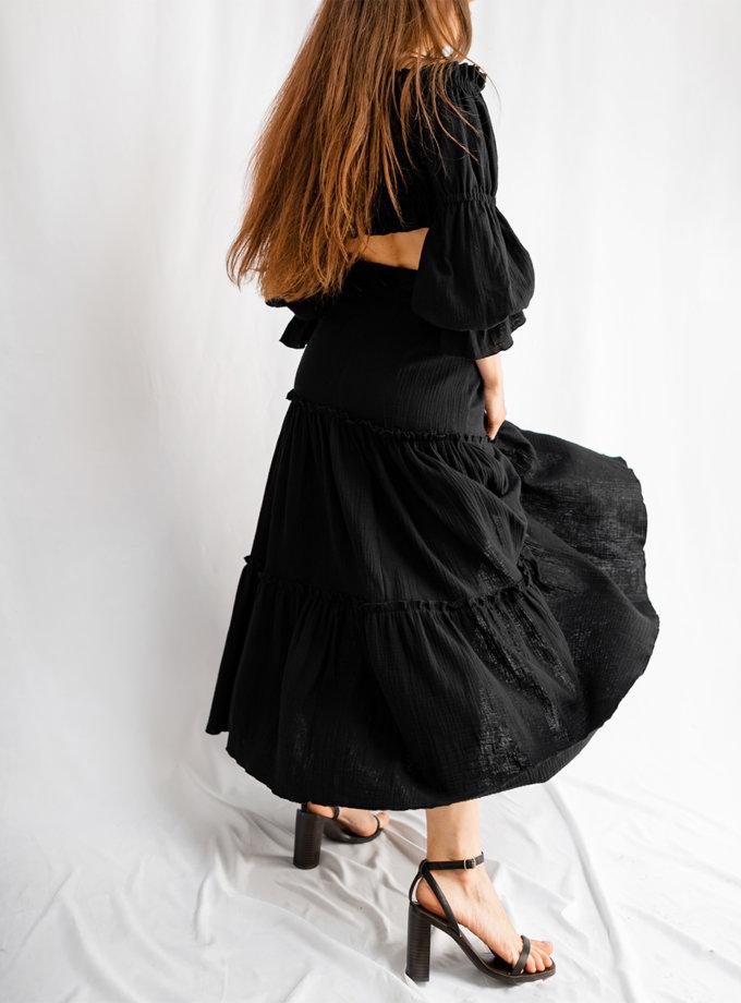 Хлопковый костюм с укороченным топом SHE_suit_black, фото 1 - в интернет магазине KAPSULA