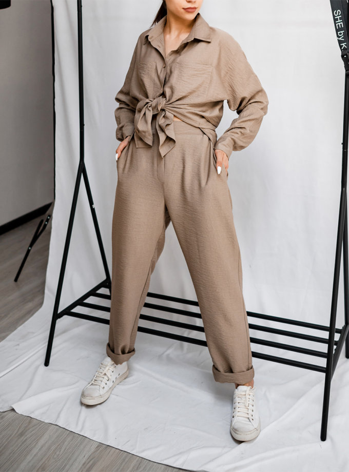 Хлопковый костюм с укороченными брюками SHE_suit_beige, фото 1 - в интернет магазине KAPSULA