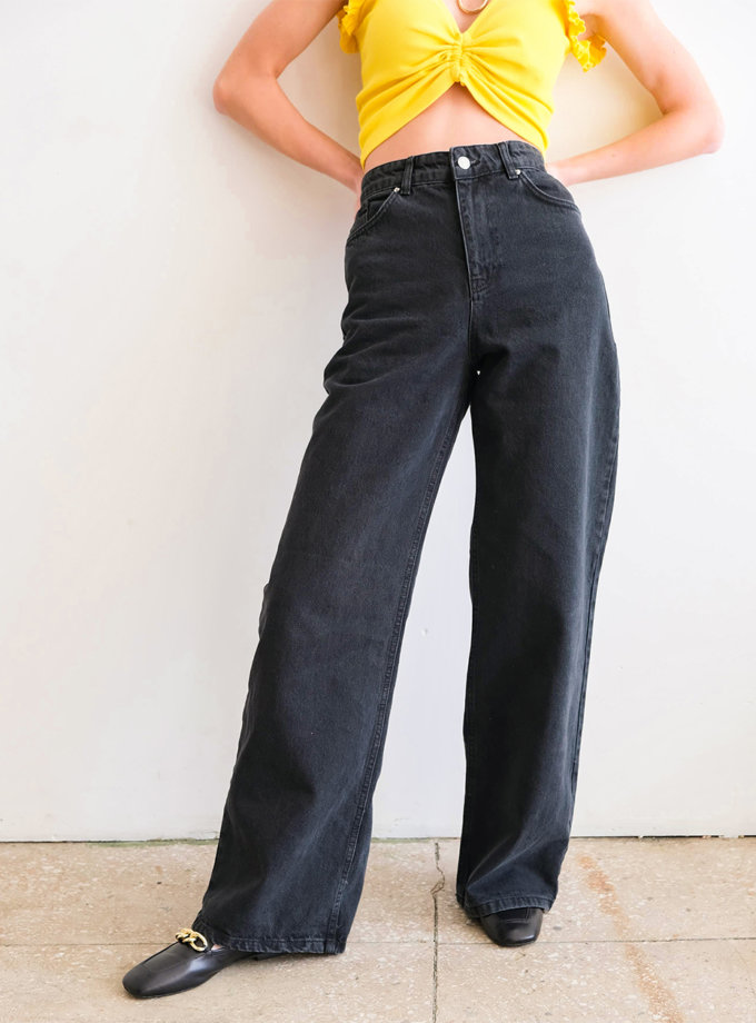Хлопковые джинсы с высокой посадкой Denwer ED_o_DJDNR-01, фото 1 - в интернет магазине KAPSULA