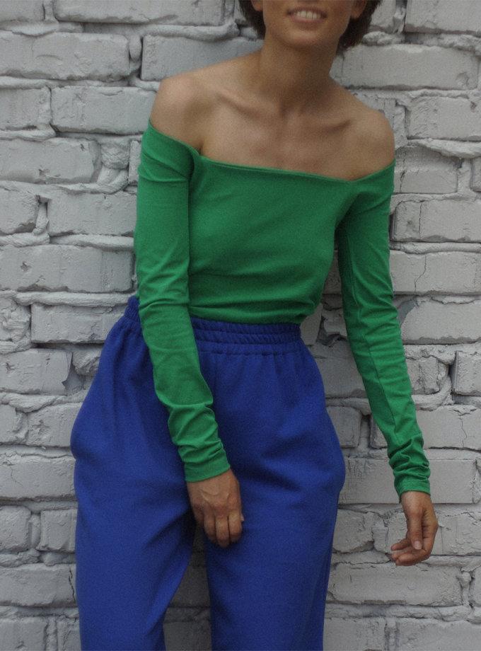 Лонгслив из хлопка с квадратным вырезом REAL SNDR_SSR15-green, фото 1 - в интернет магазине KAPSULA