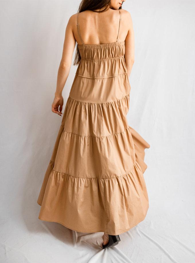 Хлопковый сарафан на тонких бретелях SHE_sundress_rope_beige, фото 1 - в интернет магазине KAPSULA