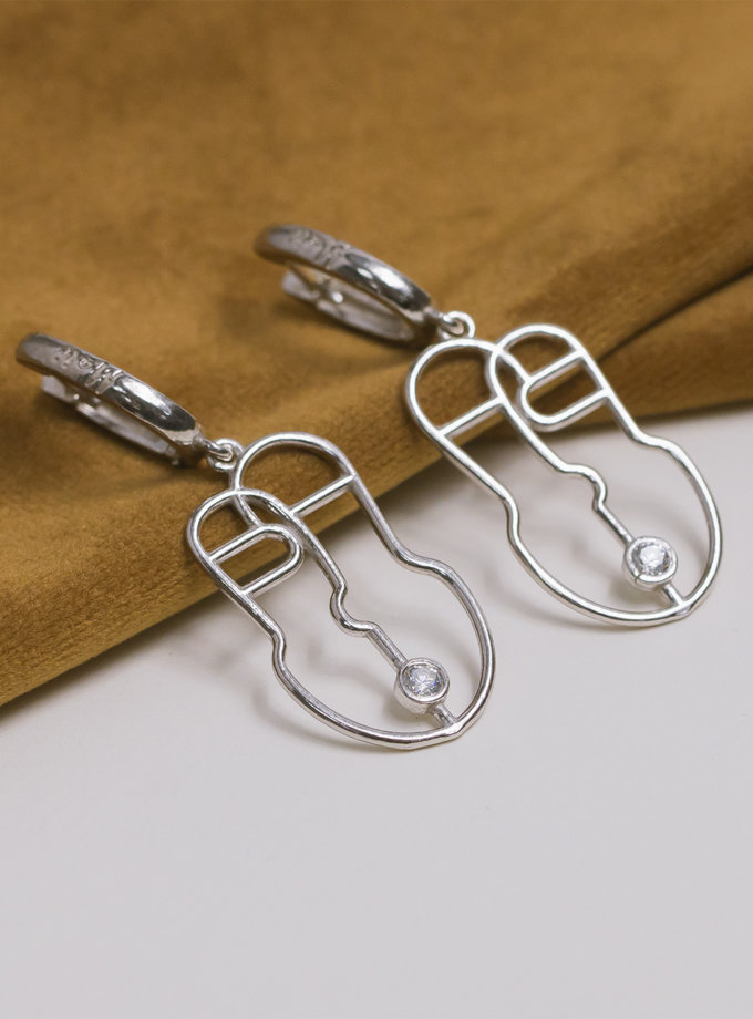 Серебряные сережки Harize white MJA_87005, фото 1 - в интернет магазине KAPSULA
