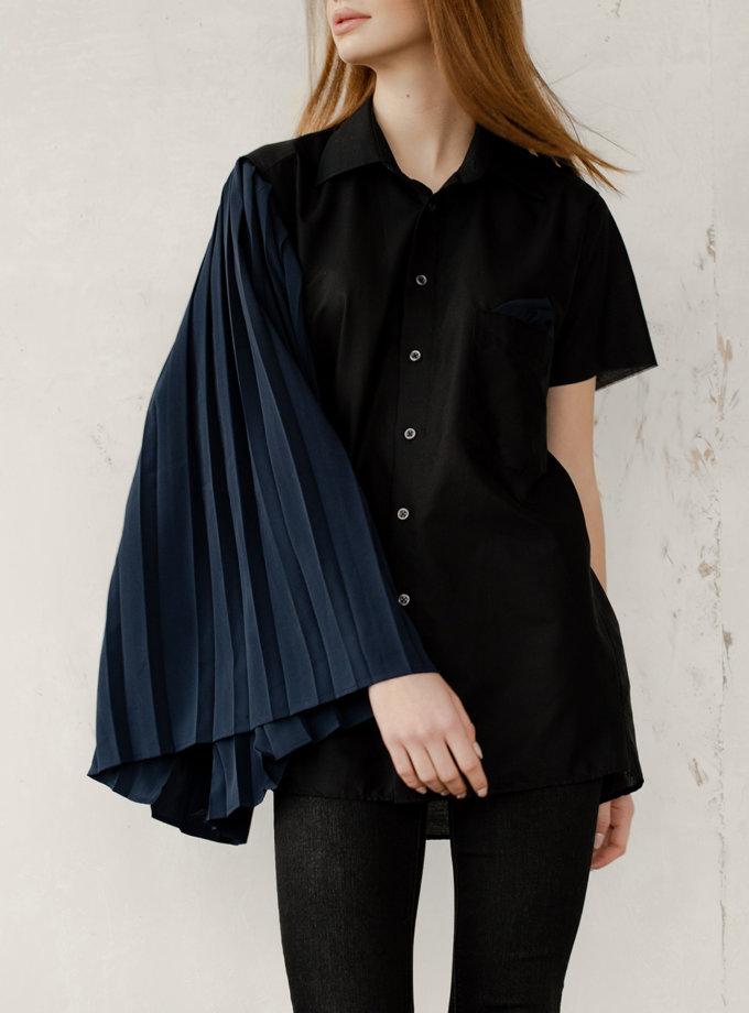 Блуза из хлопка с воздушным рукавом NNB_BL_BL_BL_ASYMMETRIC, фото 1 - в интернет магазине KAPSULA