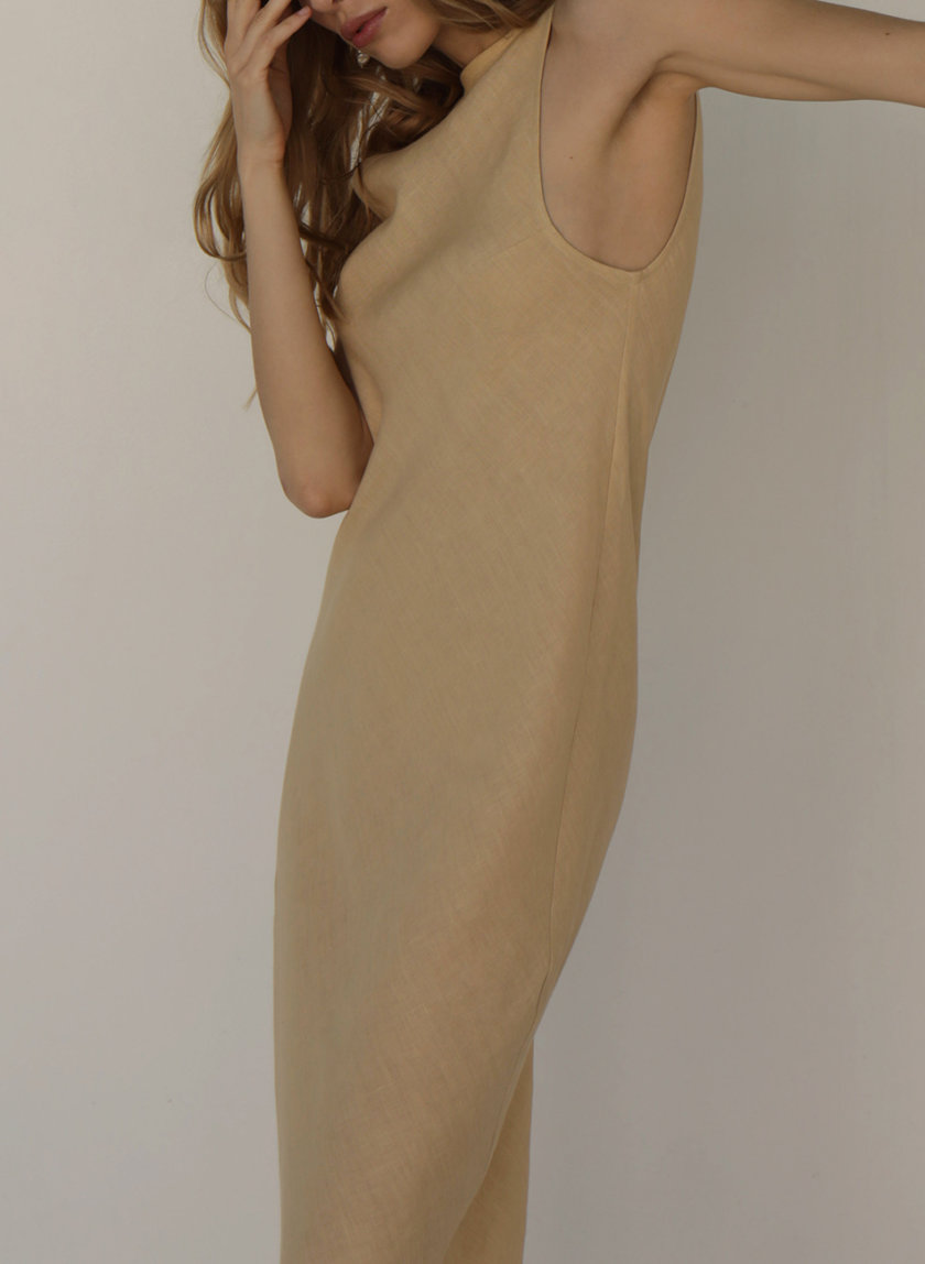 Платье миди из льна IRRO_IR_SM21_DB_012, фото 1 - в интернет магазине KAPSULA