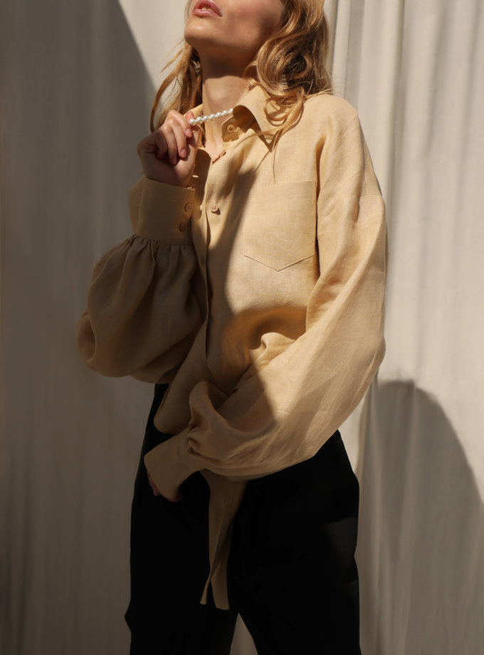 Укорочена сорочка з льону IRRO_IR_SM21_SB_002, фото 1 - в интернет магазине KAPSULA