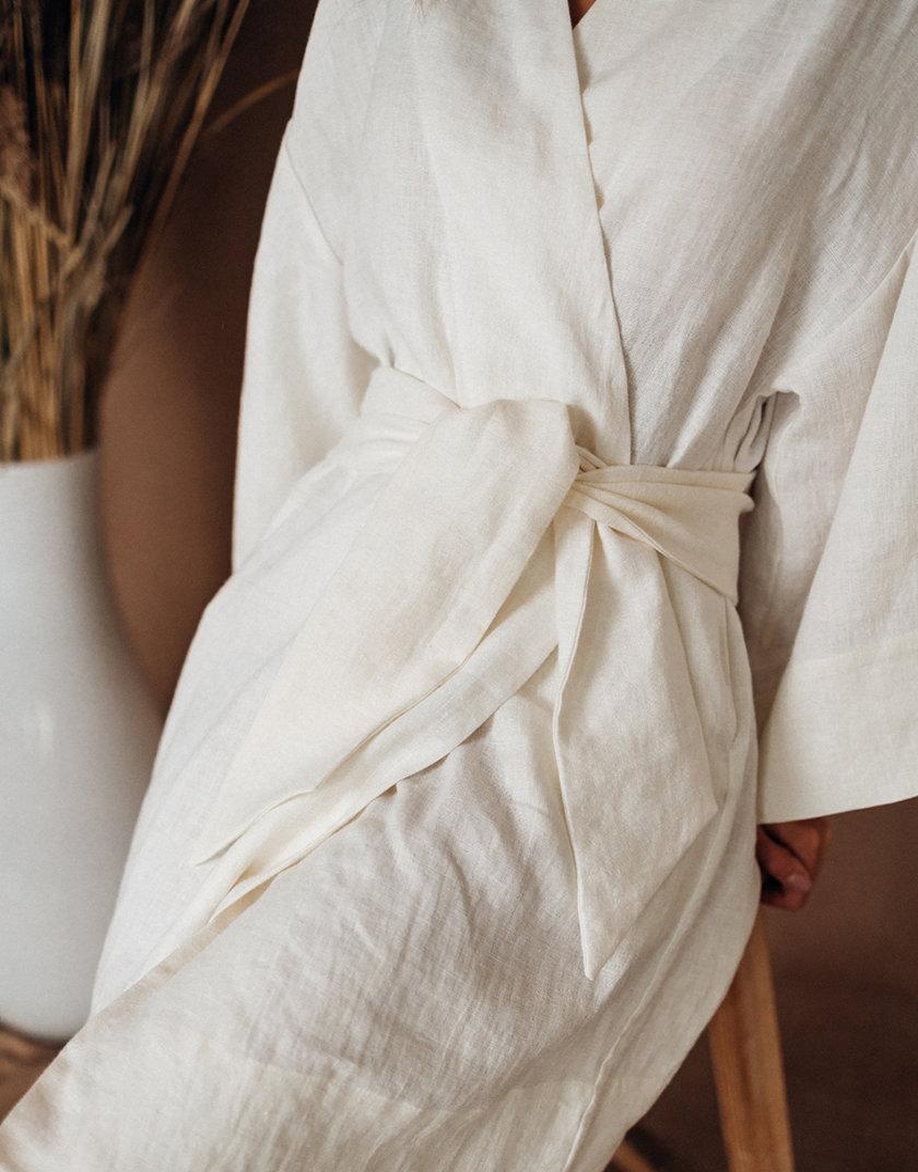Льняное кимоно с широким рукавом SGL_LK_OFFWHITE_1, фото 1 - в интернет магазине KAPSULA