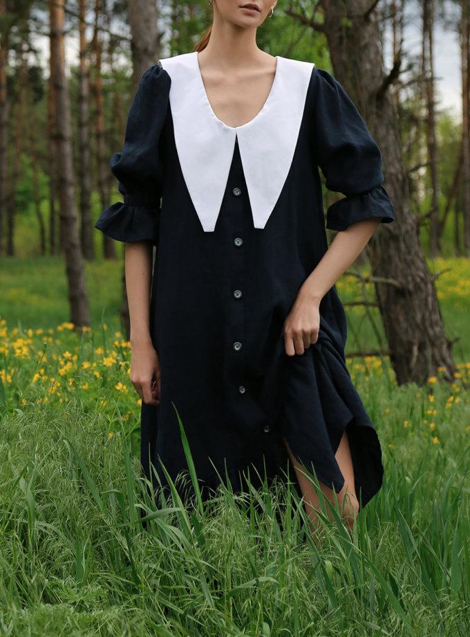 Льняное платье с воротником LP21SM-9, фото 1 - в интернет магазине KAPSULA