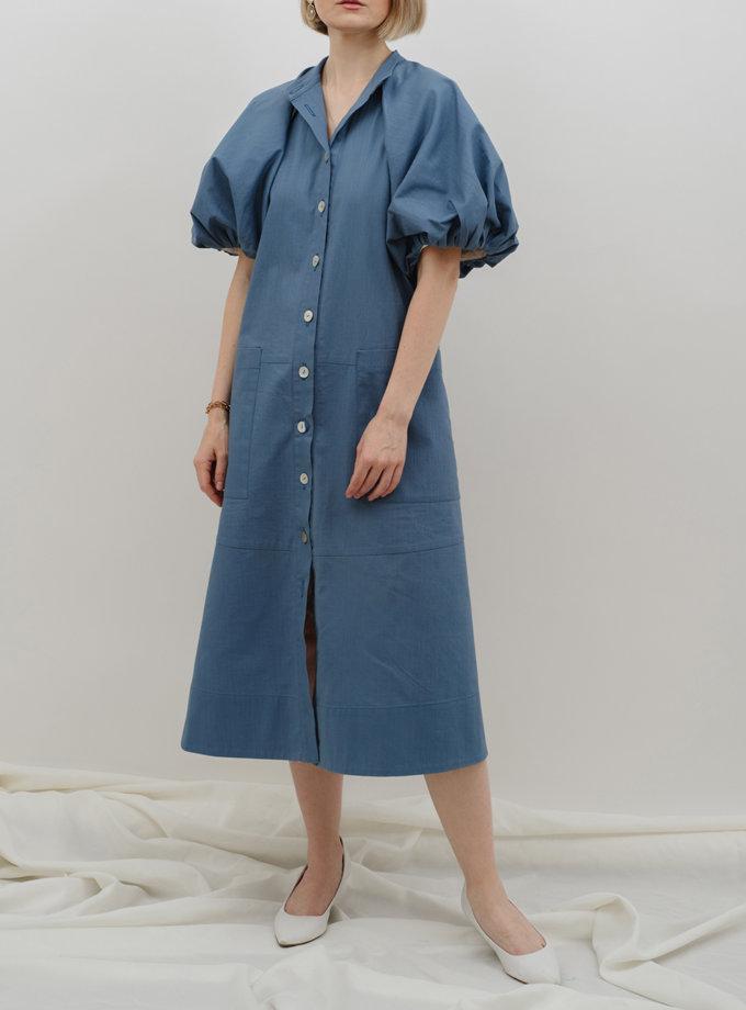 Платье из льна с пышными рукавами MNTK_MTS2159, фото 1 - в интернет магазине KAPSULA