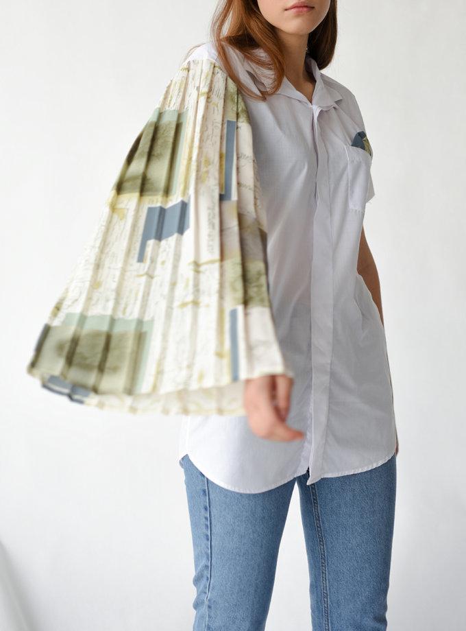Блуза з бавовни з повітряним рукавом NNB_PR_WT_BL_ASYMMETRIC, фото 1 - в интернет магазине KAPSULA