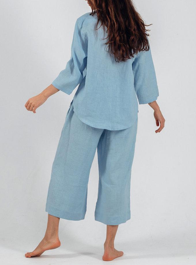 Льняная рубашка с кюлотами SGL_SС_BLUE_3, фото 1 - в интернет магазине KAPSULA