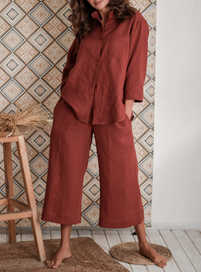 Льняная рубашка с кюлотами SGL_SС_TERRACOTTA_1, фото 1 - в интернет магазине KAPSULA