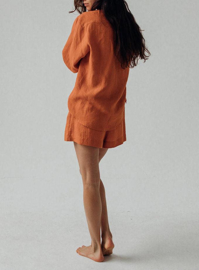 Льняная рубашка с кроп шортами SGL_SCS_CARROT_1, фото 1 - в интернет магазине KAPSULA