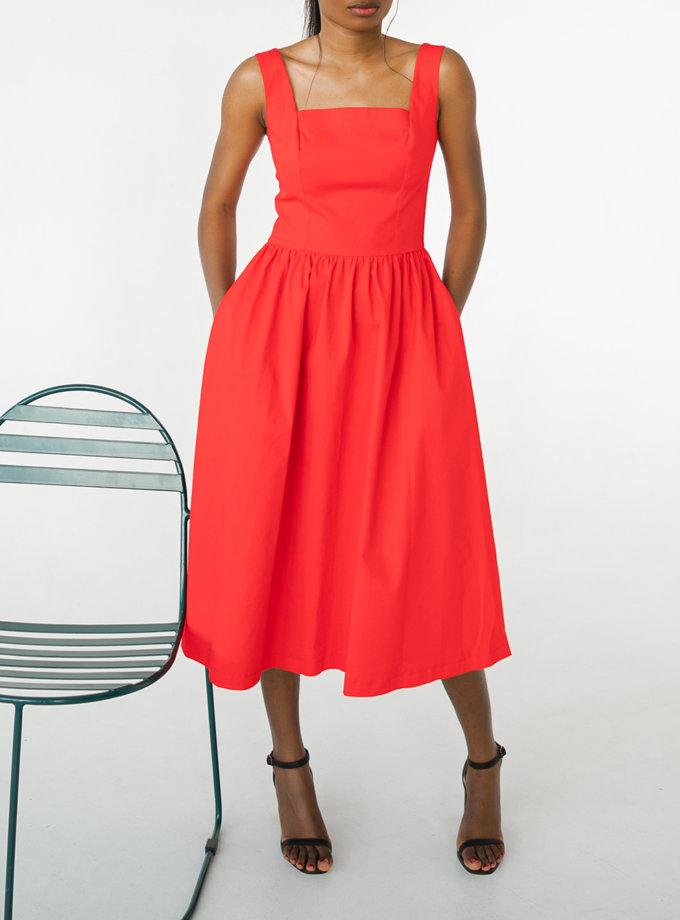 Бавовняна сукня міді SHE_dress_red, фото 1 - в интернет магазине KAPSULA