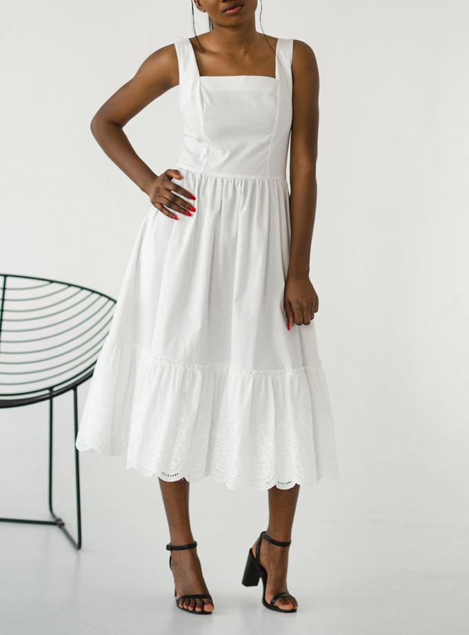 Хлопковое платье с кружевом SHE_lacedress_milk, фото 1 - в интернет магазине KAPSULA
