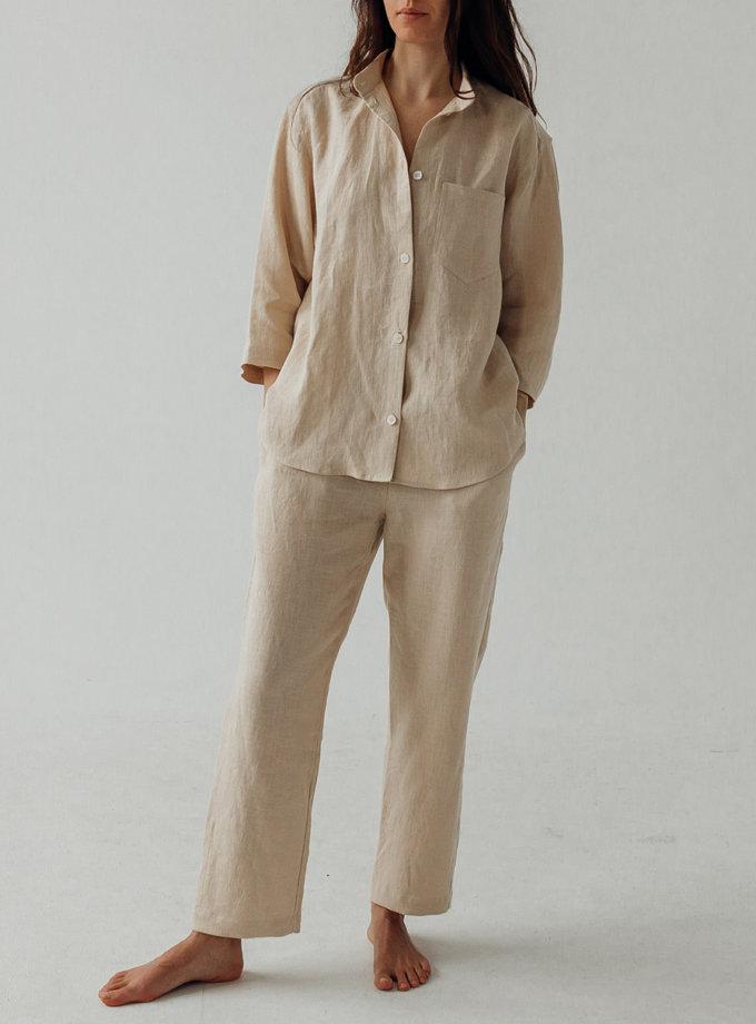 Льняная рубашка с штанами SGL_SP_BEIGE_3, фото 1 - в интернет магазине KAPSULA