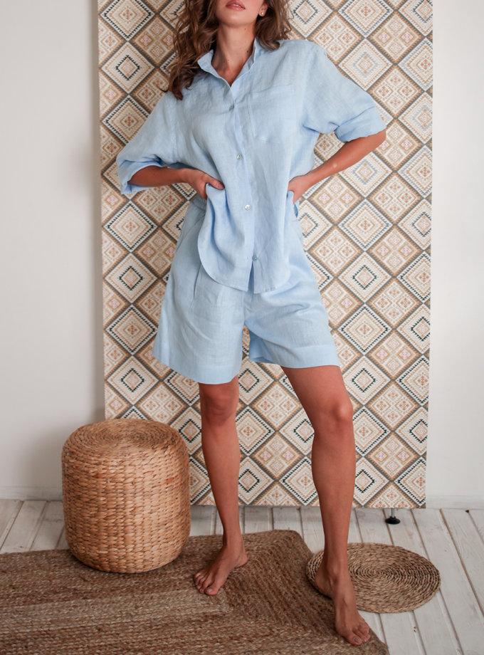 Льняная рубашка с шортами SGL_SS_BLUE_3, фото 1 - в интернет магазине KAPSULA