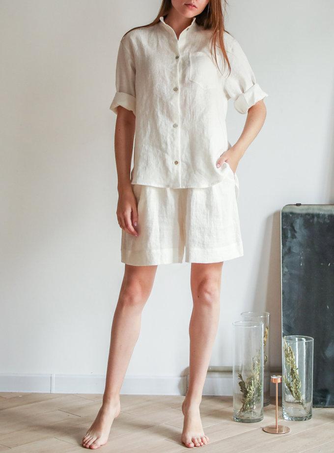 Льняная рубашка с шортами SGL_SS_OFFWHITE_2, фото 1 - в интернет магазине KAPSULA