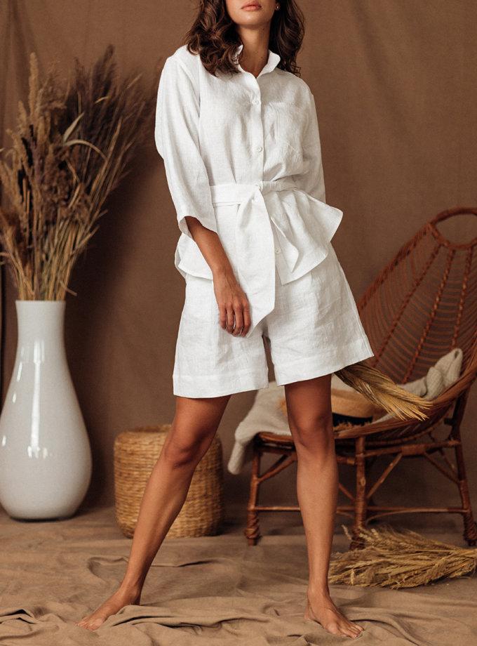 Льняная рубашка с шортами SGL_SS_WHITE_1, фото 1 - в интернет магазине KAPSULA