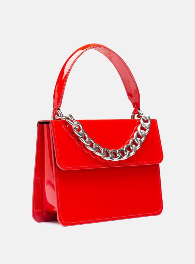 Кожаная сумка Boy Bag in Red gloss SNKD_P0061S, фото 1 - в интернет магазине KAPSULA