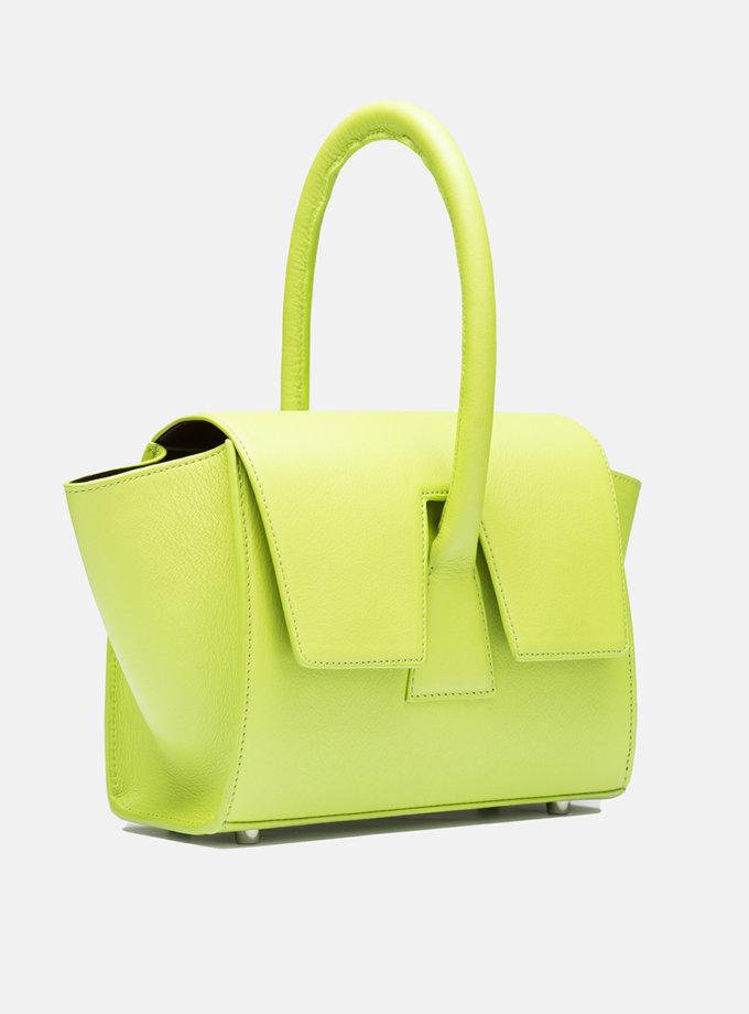 Кожаная сумка Mini Trapeze Bag lime green SNKD_P0054S, фото 1 - в интернет магазине KAPSULA