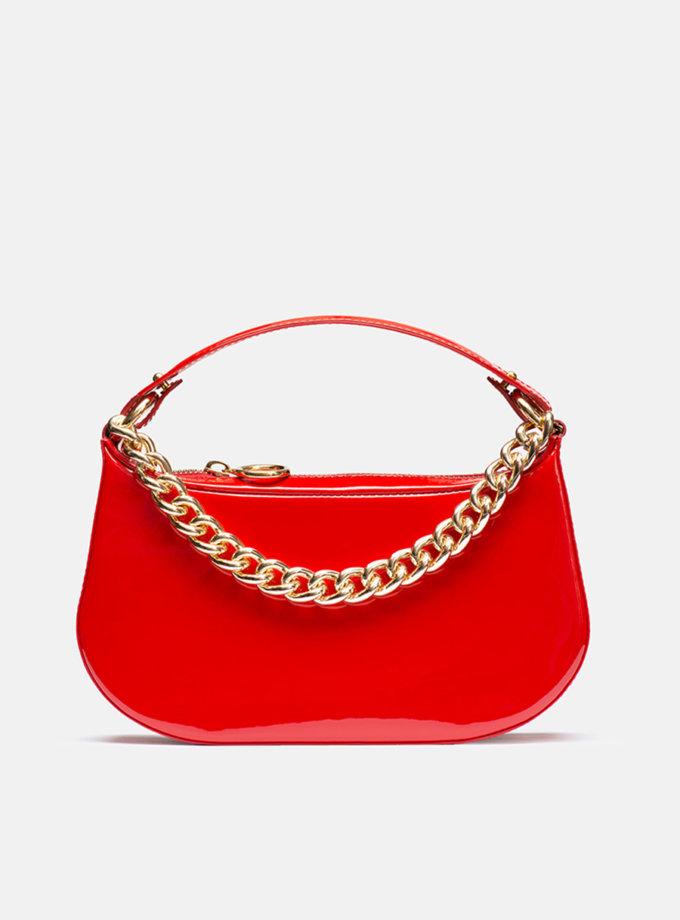 Кожаная сумка Saddle Bag in Red gloss SNKD_P0055S, фото 1 - в интернет магазине KAPSULA