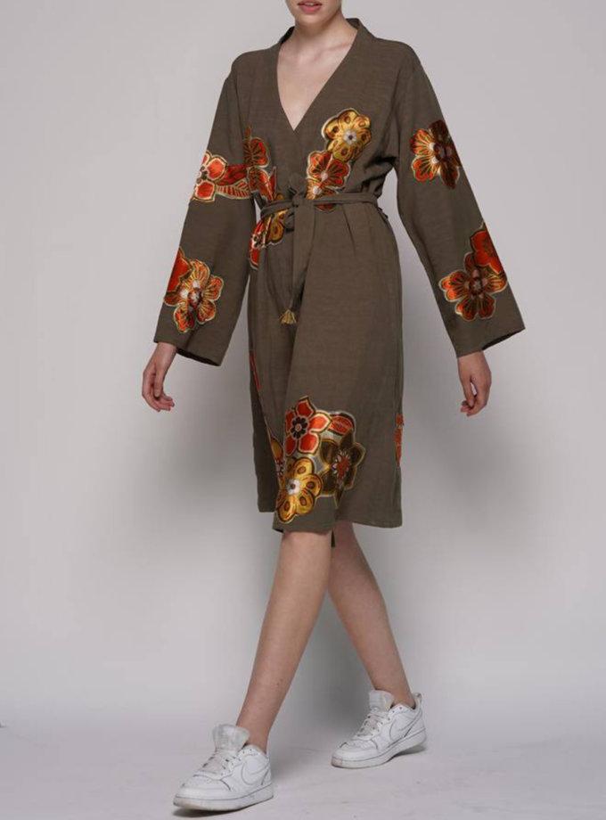 Льняна сукня-кімоно ZHRK_zkss2100030h, фото 1 - в интернет магазине KAPSULA