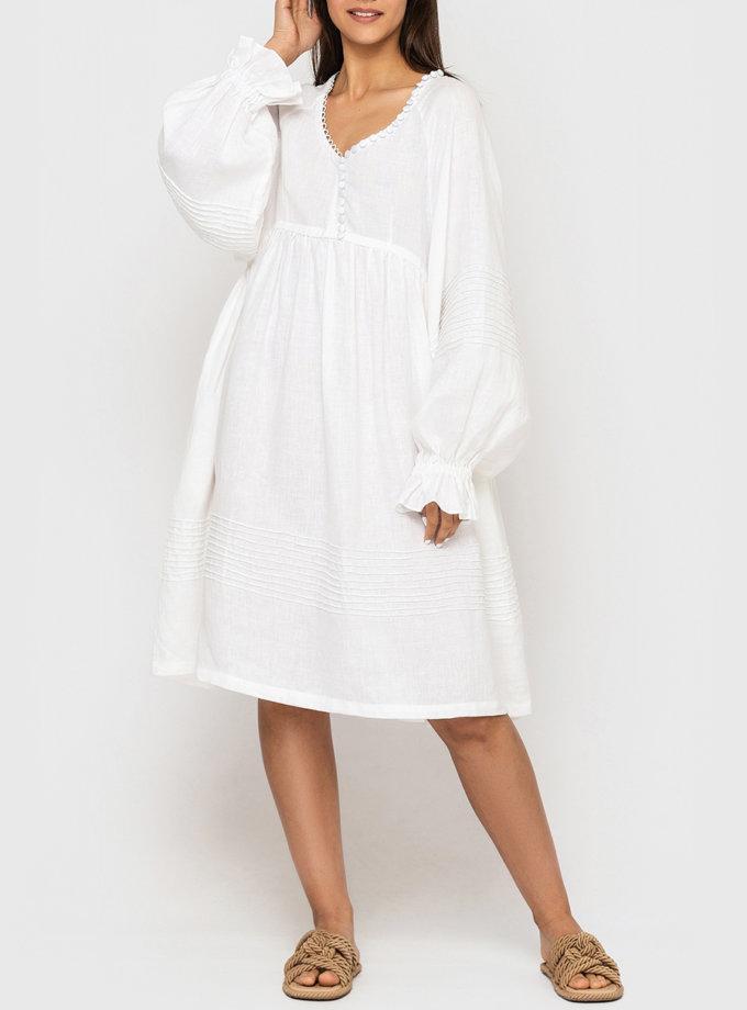 Платье из льна с пуговицами и пышными рукавами MRND_М100-1, фото 1 - в интернет магазине KAPSULA